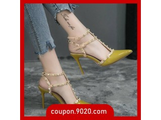 Women's 8cm high heel stiletto rivet toe cape buckle straps Roman sandals