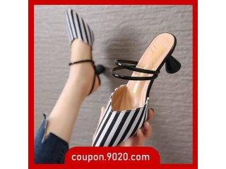 Women's sandals Korean baotou half slippers female high heel sandals
