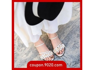Women's Sandals Pearl Flower Wedge Beach Sandals