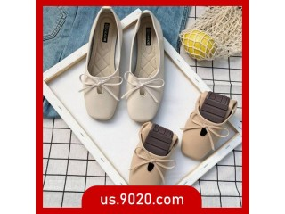 Women's flat shoes versatile fashion flat shoes square head bow peas shoes