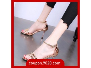 Women's high heels stiletto fashion sandals sexy rivet buckle versatile high heels