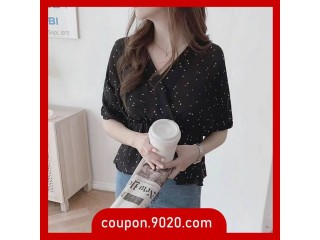 Women's Blouse design retro waist sweet short-sleeved chiffon top blouse