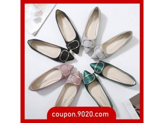 Women's Pointed Toe Shoes Square Buckled Flat Shoes Shallow Casual Shoes