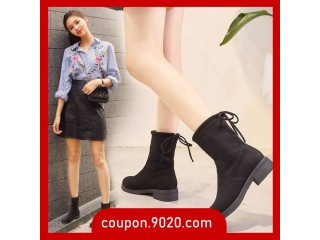 Women's Boots Thick Heel Flat Bottom Stretch Boots British Wind Boots