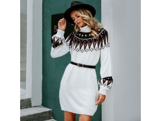 Casual Turtle Neck Pullover Sweater Dress