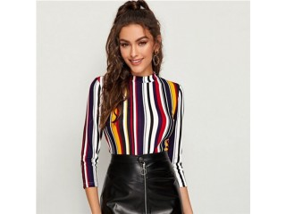 Multicolor Mock-neck Form Fitted Striped Top